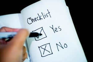 A checklist with 'yes' and 'no' items