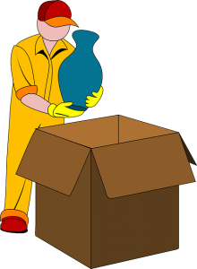 Drawing of man packing a vase in the box