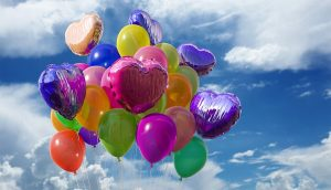 Balloons in the air.