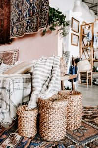 Woven baskets next to a couch
