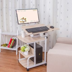 a desk with a pc