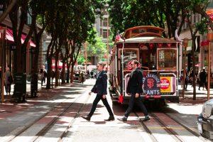 People crossing the street in San Francisco