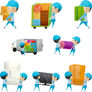 Drawings of movers working.