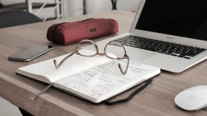 glasses on a book on top of a table