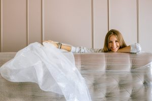 A woman posing with bubble wrap