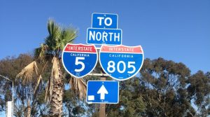 interstate road sign in california