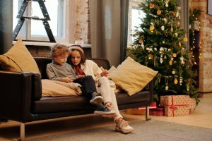 Kids sitting on the couch