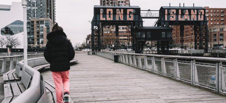 A girl walking.