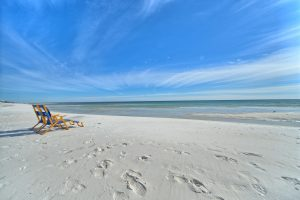 Sunbed on the sand